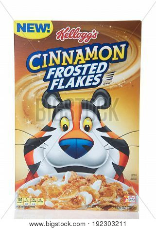 Alameda CA - April 27 2017: Box of Kellogg's brand Frosted Flakes cereal. NEW Cinnamon flavor. Kellogg's is an American food manufacturer founded in 1906