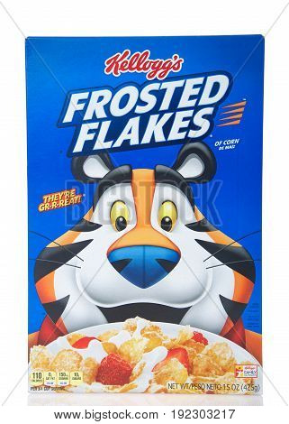 Alameda CA - April 27 2017: Box of Kellogg's brand Frosted Flakes cereal. Original flavor. Kellogg's is an American food manufacturer founded in 1906