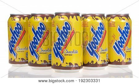 Alameda CA - May 09 2017: Cans of Yoohoo brand drink. Yoo-hoo is an American brand chocolate beverage that originated in New Jersey and that is currently manufactured by Dr. Pepper Snapple Group