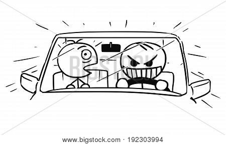 Cartoon vector stickman crazy driver is dangerous driving the car front seat passenger is very scared.