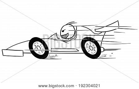Cartoon vector stickman formula one driver driving fast