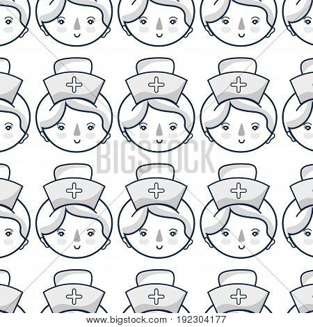 professional nurse face with hat in the head background vector illustration