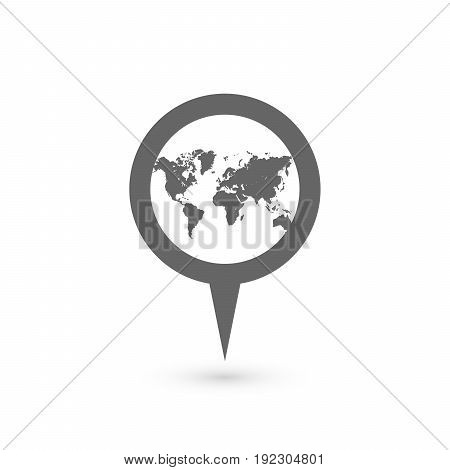Blue map pointer with world map silhouette icon. Vector illustration with dropped shadow.