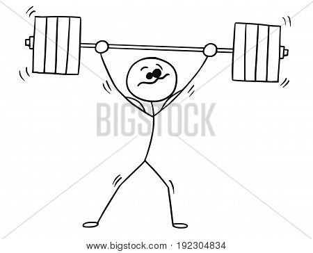 Cartoon vector stickman shaking weightlifter with heavy barbell above his head