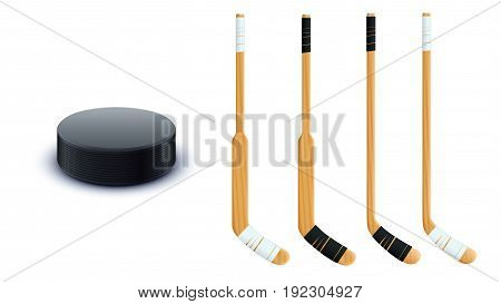illustration of hockey equipment black color puck and wooden sticks isolated on white background