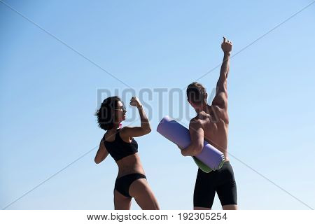 Sport And Health, Happy Man With Muscular Body And Girl