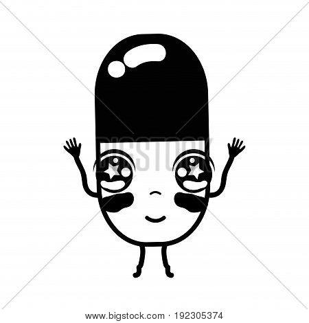 contour kawaii cute happy pill pharmaceutical medicine vector illustration