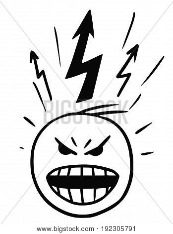 Cartoon vector stickman of head in burst of anger blow-up with lightning marks above the head