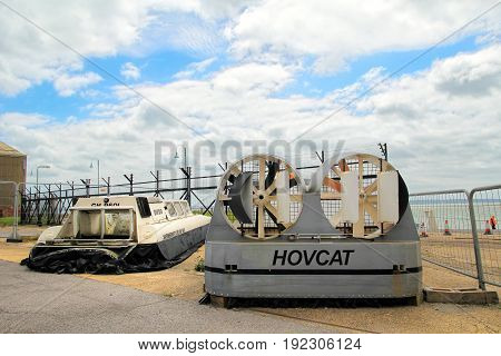 Lee-on-the-solent, Hampshire, Uk - June 10 2017: Two Small Hovercraft On Display At The Hovercraft M