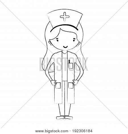 line professional nurse with hat in the head vector illustration