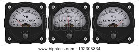 Satisfaction indicator. Analog indicator showing the level of satisfaction. 3D Illustration. Isolated