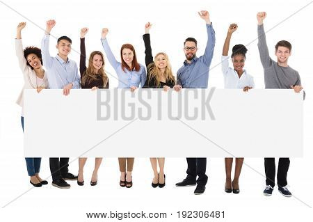 College Students With Billboard Raising Their Arms On White Background