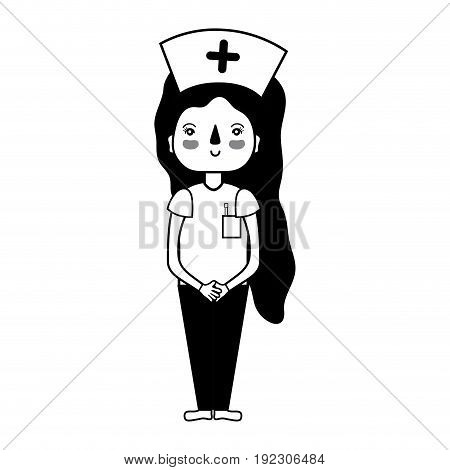 contour professional nurse with hat in the head vector illustration