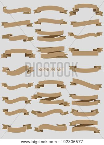 Gold glossy ribbon vector banners set. Ribbon label gold glossy, ribbon curled tag, waving ribbon gold glossy illustration