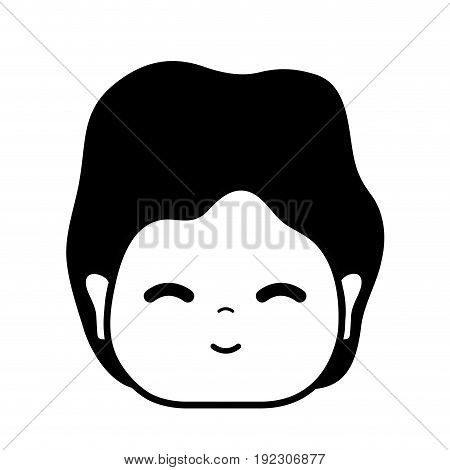 contour man head with expression and hairstyle vector illustration