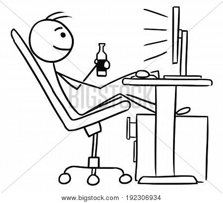Cartoon vector doodle stickman sitting in work in front of computer screen legs up and enjoying the beer