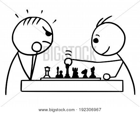 Cartoon vector stickman two man playing a game of chess; one winning game and smiling other loosing angry