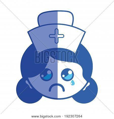 line kawaii professional nurse face with hat in the head vector illustration