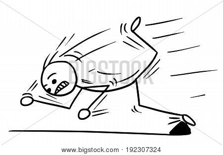 Cartoon vector stickman man falling stumble trip hard over stone