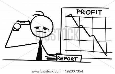 Cartoon vector doodle stickman pointing gun pistol at his head committing suicide because of low company profit at wal graph
