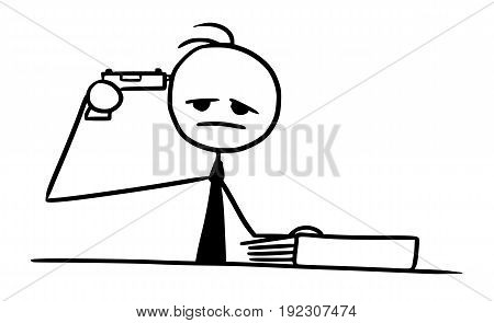 Cartoon vector doodle stickman pointing gun pistol at his head committing suicide