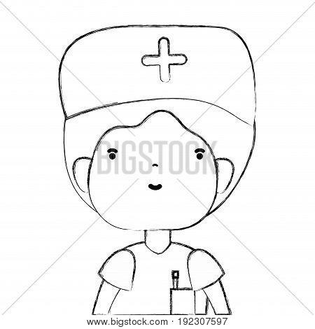 line specialist doctor with medical uniform vector illustration