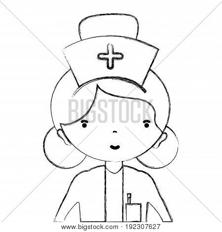 figure professional nurse with hat in the head vector illustration