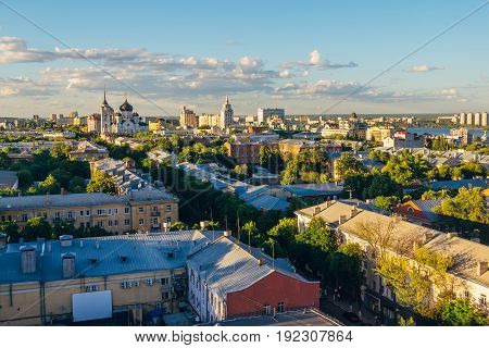 Aerial view of Voronezh downtown in summer