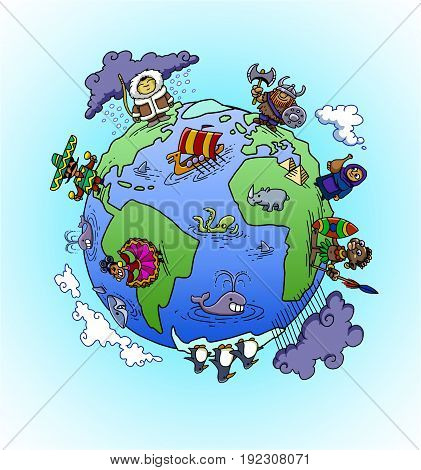 The globe, a world with continents, nations and animals