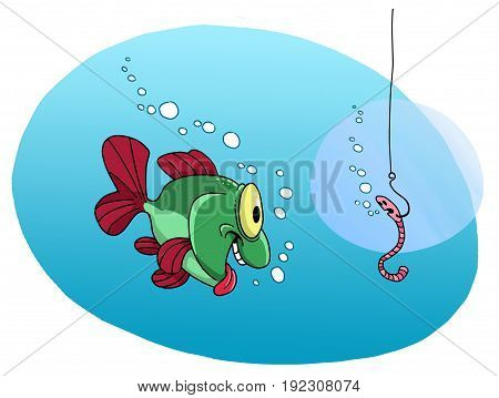 Fish wants to grab a hook with a worm