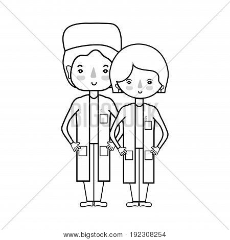 line woman and man doctors with their uniform vector illustration