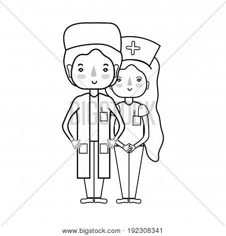 line doctor and nurse to help people vector illustration