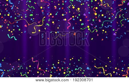 Celebration. Vector serpentine and confetti on colourful background