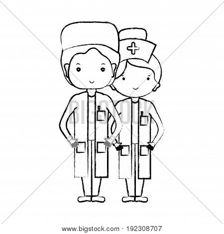 figure doctor and nurse to help people vector illustration