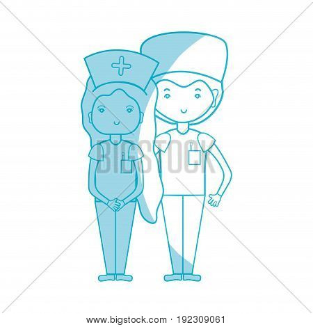 silhouette doctor and nurse to help people vector illustration
