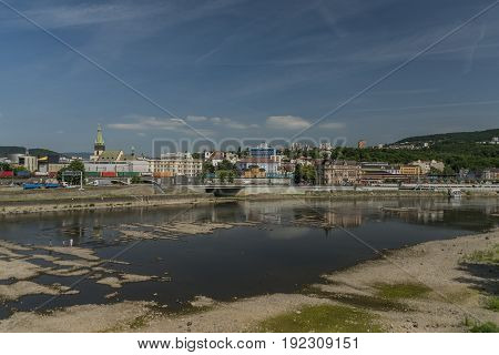 Dryness in river Labe in Usti nad Labem city
