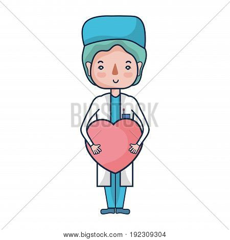 specialist man doctor with heart vector illustration