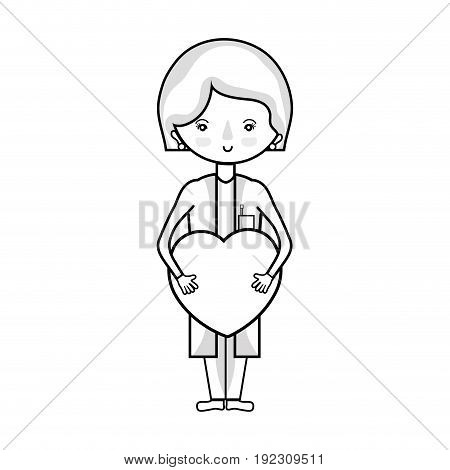line specialist woman doctor with heart vector illustration
