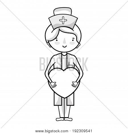 line professional nurse with heart in tha hands vector illustration