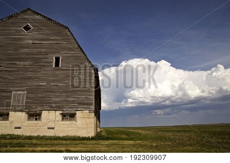 Wooden Barn Canada and Storm Clouds Thunderhead