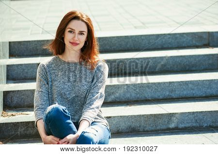 Girl Sitting On Stone Steps 02