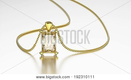 3D illustration white gold diamond necklace on chain with reflection on a grey background