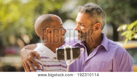 Gay Couple Two Men Taking Selfie With Smartphone