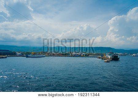 BALI, INDONESIA - APRIL 05, 2017: Beautiful view of the harbour from Ferry boat in Ubud, Bali Indonesia.