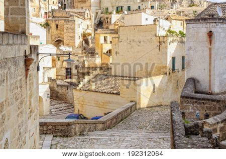 Stairs and alleys in the reviving labyrinth of Sassi di Matera Basilicata Italy