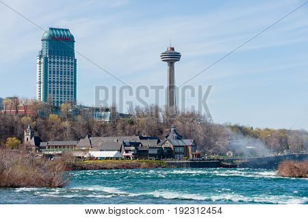 View at centre street at Niagara falls in Canada