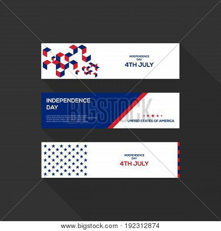 4th of July independence day United States of America banner flat design vector illustration