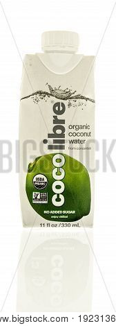 Winneconne WI -13 June 2017: A bottle of Coco Libre organic coconut water on an isolated background