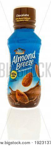 Winneconne WI -13 June 2017: A bottle of Blue Diamond almond breeze almondmilk on an isolated background