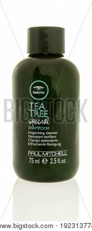Winneconne WI -13 June 2017: A bottle of Tea Tree special shampoo by Paul Mitchell on an isolated background